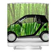 Green Mini Car Shower Curtain