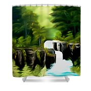 Green Mist Fantasy Falls Dreamy Mirage Shower Curtain