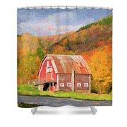 Green Mountains Barn Shower Curtain