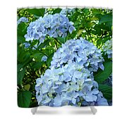 Green Nature Landscape Art Prints Blue Hydrangeas Flowers Shower Curtain