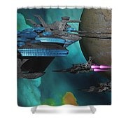 Green Nebular Expanse Shower Curtain by Corey Ford