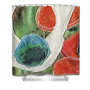 Green Orange Abstract 1  Shower Curtain