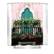 Green Ornate Door With Geraniums Shower Curtain