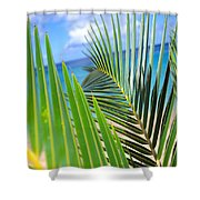 Green Palm Leaves Shower Curtain