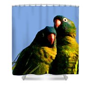 Green Parrot Shower Curtain