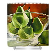 Green Pears In Glass Bowl Shower Curtain