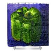 Green Pepper On Linen Shower Curtain