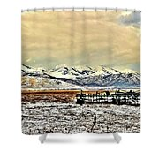 Green Plow On An Early Winter Morning Shower Curtain