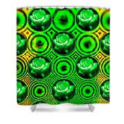 Green Polka Dot Roses Fractal Shower Curtain