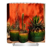 Green Pots Shower Curtain