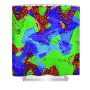 Green Red And Blue Melody Panel Abstract Shower Curtain