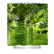 Green Reflections With Sunlit Grass Shower Curtain
