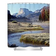 Green River, Frosty Morning Shower Curtain
