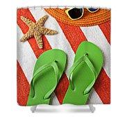 Green Sandals On Beach Towel Shower Curtain