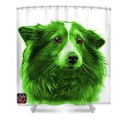 Green Shetland Sheepdog Dog Art 9973 - Wb Shower Curtain