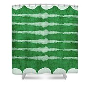 Green Shibori 3- Art By Linda Woods Shower Curtain