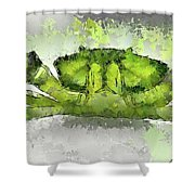 Green Shore Crab Shower Curtain