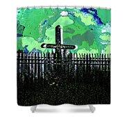 Green Sky Cross Shower Curtain
