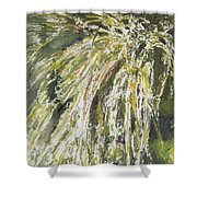 Green Reeds Shower Curtain