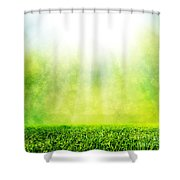 Green Spring Grass Against Natural Nature Blur Shower Curtain