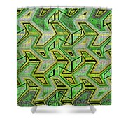 Green Steps Abstract Shower Curtain