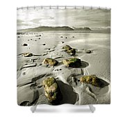 Green Stones On A North Wales Beach Shower Curtain
