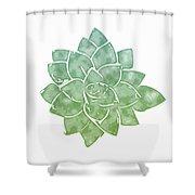 Green Succulent 1- Art By Linda Woods Shower Curtain