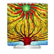 Green Sun Shower Curtain