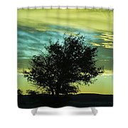 Green Sunset Shower Curtain