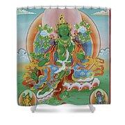 Green Tara With Retinue Shower Curtain