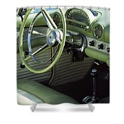 Green Thunderbird Wheel And Front Seat Shower Curtain