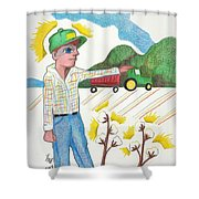 Green Tractor Hat Shower Curtain