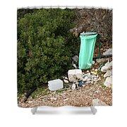 Green Trash Bag And Rubbish In Croatia Shower Curtain