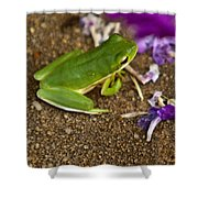 Green Tree Frog And Flowers Shower Curtain