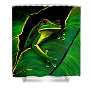 Green Tree Frog And Leaf Shower Curtain