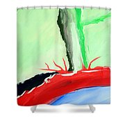 Green Tree Red Ridge Shower Curtain