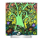 Green Tree With Purple Tulips Shower Curtain