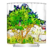 Green Trees By The Lake Shower Curtain
