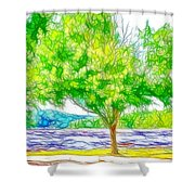 Green Trees By The Water 3 Shower Curtain