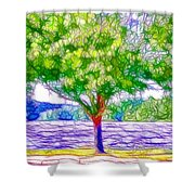 Green Trees By The Water  5 Shower Curtain