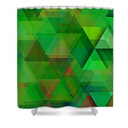 Green Triangles Over Green Mist Shower Curtain