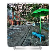 Green Umbrella Bus Stop Shower Curtain by Michael Thomas