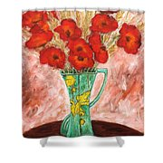 Green Vase And Poppies Shower Curtain
