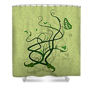 Green Vine And Butterfly Shower Curtain