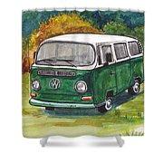 Green Vw Bus Shower Curtain