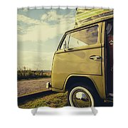Green Vw T2 Camper Van 02 Shower Curtain