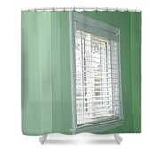 Green Wall White Window Shower Curtain