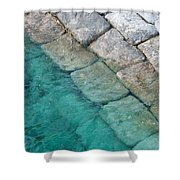 Green Water Blocks Shower Curtain