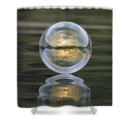 Green Waters And Cloudy Skies Shower Curtain