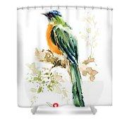 Green Wild Bird Shower Curtain
